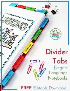 Free Language Notebook Tabs for SLPs: For SLP Notebook Organization, these Divider Tabs can be used in Speech Therapy notebooks. Printable Student Notebook Tabs can be FULLY CUSTOMIZED using the provided editable file so you can personalize them for your students. You will need PowerPoint to open and edit the tabs.