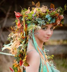 Items similar to Woodland Faerie Floral Headdress Crown Wreath with Butterflies, Embellishments and Streaming Ribbons ~ CUSTOM CREATED on Etsy Fairy Crown, Flower Crown, Casco Floral, Faerie Costume, Woodland Fairy Costume, Floral Headdress, Fairy Clothes, Fairy Dress, Midsummer Nights Dream