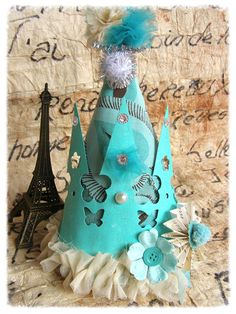 Cone Party Hat Costume Hat Teal Tinsel Vintage by MesBellesSoeurs