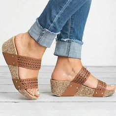 New Women Shoes Sandals Fish Mouth Platform High Heels Sandals Slippers Slip-on Shoes PU Wedge Heel Sandalias Mujer Clear Heel Shoes, Peep Toe Shoes, Slip On Shoes, Women's Shoes Sandals, Sandals Platform, Leather High Heels, Pu Leather, Casual Heels, Ciabatta