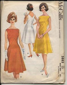 McCall's 5883 1961© Misses' Dress: Sleeveless dress cut entirely on bias or entirely on straight grain of fabric. Bateau neck at front, V-neck at back. Two-piece skirt rises to high point at center back and center front, dips low on side seams. French darts in bodice front, left side zipper placket. 12 pattern pieces.