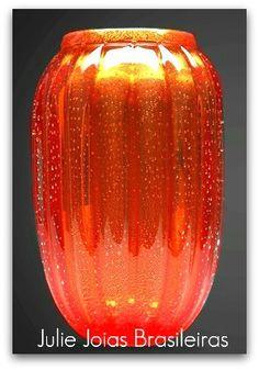 Vaso em cristal Murano com ouro 24k em pó (Murano crystal vase with 24k powdered gold)