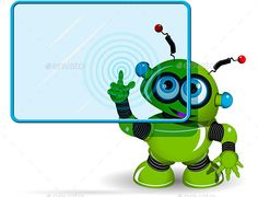 Green Robot and Screen by brux Green Robot and Screen Illustration green robot with a blue screen vector EPS 10, AI 10 file, JPEG 65735265 4 layer fully edit
