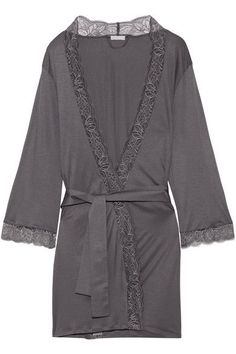 Hanro - Ginevra Lace-trimmed Modal-jersey Robe - Anthracite - x small