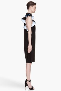 GIVENCHY Black metal-trimmed Cady Ruffle Dress