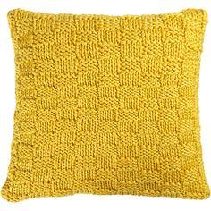 "knit yellow 18"" pillow in pillows | CB2"