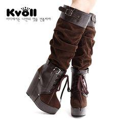 Autumn Fashion Fold Buckle Wedge Boots