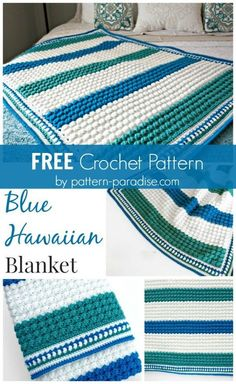 Free Crochet Pattern: Blue Hawaiian Baby Blanket | Pattern Paradise