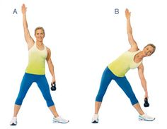 Windmill  Targets shoulders, back, and abs  Hold handle in left hand and stand with legs wide, left foot pointing to side, right one forward. Extend right arm overhead, left arm at side (A). Bend at waist to left and lower kettlebell toward left shin (B). Imagine you are standing between two panes of glass to keep body in line; don't roll forward or back. Slowly stand up, using core muscles to lift. Repeat for 1 minute (about 20 reps), then switch sides.    MAKE IT EASIER: Use a lighter…
