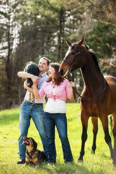 Summer Engagement photos with horses and dogs | engagement photographer