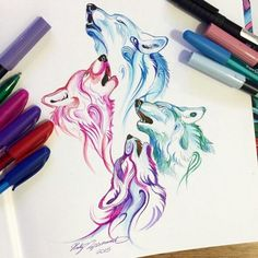 Amazing Wolf Wallpaper Here are the best screen murals you can use on your phone. Animal Drawings, Cute Drawings, Bruder Tattoo, Aquarell Tattoos, Wolf Artwork, Wolf Tattoo Design, Tattoo Designs, Arte Sketchbook, Wolf Wallpaper