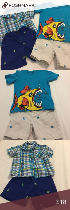 The Children's Place 2T shirts and Short Bundle Two Khaki high quality shorts with embroidered fish in blue with green fish and khaki with turquoise fish 🐠. 1 Matching Plaid Shirt is versatile with both shorts and turquoise fish shirt to match khakis. The Children's Place Other