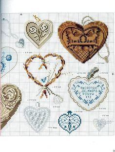0 point de croix grille et couleurs de fils collection de coeurs 2