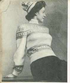 Genser og lue Norwegian Knitting, Jumpers, Knitting Patterns, Pullover, Jackets, Vintage, Fashion, Down Jackets, Moda