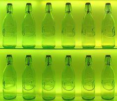 Bottles in green.