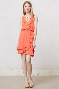 Pindot Ruffle Dress #anthropologie, tried on in store, more of a bright orange-red, very cute, petites
