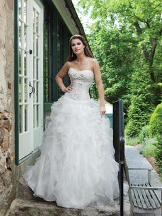 BallGown Sweetheart Organza Floor-length White Tiered Wedding Dresses at Millybridal.com