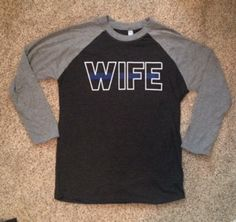 Police Wife Thin Blue Line Raglan by weloveshirts on Etsy