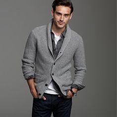 Buy the look on Lookastic: lookastic.fr / … – Gray Shawl Cardigan – White Crew-neck T-shirt – Navy Jeans – Black Denim Shirt - Fashion Moda, Look Fashion, Mens Fashion, Grey Fashion, Modern Fashion, Urban Fashion, Fashion News, Fashion Brands, Fashion Online