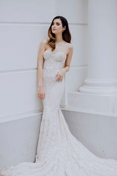 Bride in Inbal Dror lace embroidered sweetheart gown // Beautiful mother, model and TV host Sonya Davison reached out to The Wedding Scoop when she decided to have a convalidation wedding ceremony in church.
