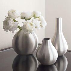 3-Piece Cooper Silver Vase Set in Vases   Crate and Barrel