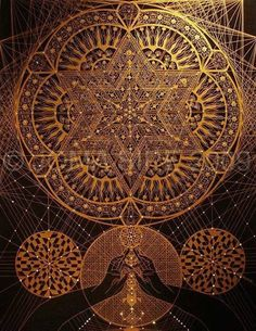 Gold thread sacred geometry mandala