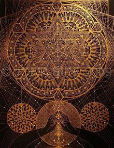 Gold thread sacred geometry mandala