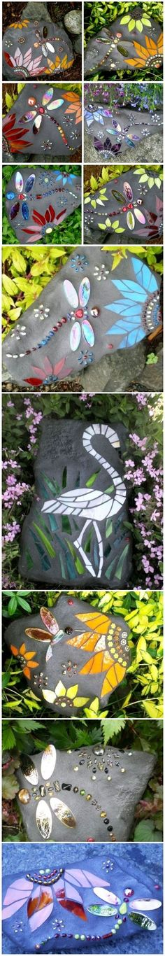 15 Easy DIY Garden Projects With Rocks And Stones – Mosaic Garden Art – - diy einfache gartenideen Mosaic Crafts, Mosaic Projects, Mosaic Art, Mosaic Glass, Stained Glass, Mosaic Ideas, Glass Art, Diy Garden Projects, Garden Crafts