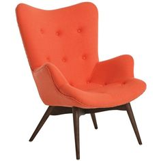 Pastel Gelsenkirchen Orange Faux Leather Club Chair (990 AUD) ❤ liked on Polyvore featuring home, furniture, chairs, accent chairs, decor, seating, orange, colored furniture, orange accent chair and faux leather furniture