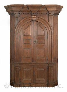 Berks County, Pennsylvania hard pine one-piece architectural corner cupboard, circa 1770, 94 H. x 58 W.