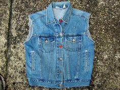Vintage Denim Vest Cut Off Jean Jacket Bill by ChondashersApparel, $21.95