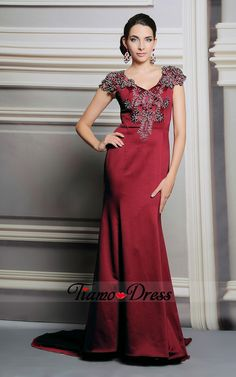 Affordable cap sleeves burgundy V-neck mermaid long mother of the brides dresses with sweep train