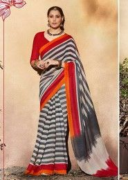 Casual Wear Grey Silk Printed Saree