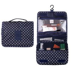 Fantasy Portable Travel Hanging bag with hook  Toiletry Organizer Cosmetic Bag For Women Wave point * Click image to review more details. Note:It is Affiliate Link to Amazon.