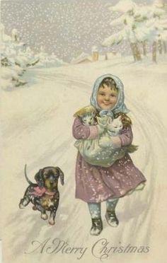 Chica con el Dachshund y gatitos. Postal de la vendimia de la Navidad en pinterest.com