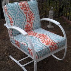 Vintage Glider Cushions Outdoor Old Metal Glider