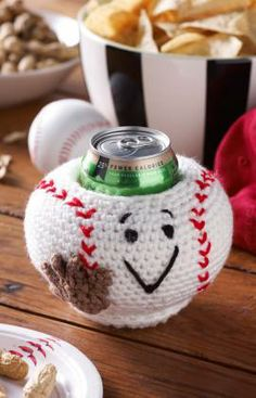 Baseball Can Cozy Free Crochet Pattern from Red Heart Yarns. FREE PDF 5/14.