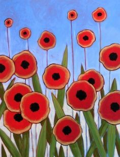 Poppy Field -- 8 x 10 giclee of my original painting Original Paintings, Original Art, Flower Art, Floral Flowers, Arte Floral, Whimsical Art, Collage Art, Pop Art, Art Projects