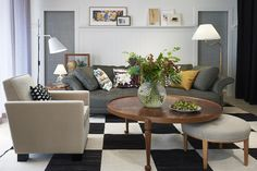 """Interior from the store with the sofa Liljevalch in Svenskt Tenn's new wool and linen blend fabric """"Twist""""."""