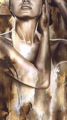 Abstract Portrait Painting, Abstract Face Art, Woman Painting, Portrait Art, Portraits, Oil Pastel Art, Art Web, Black Love Art, Erotic Art