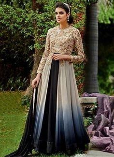 Ombre Georgette Layered Ankle Length Anarkali