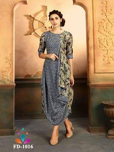 Grey And Cream Color Rayon Ready Made Kurti - Designer Kurtis, Designer Dresses, Indian Dresses, Indian Outfits, Robes Western, Western Wear, Indo Western Kurti, Batik Dress, Draped Dress