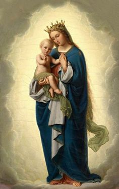 Jesus Mother, Blessed Mother Mary, Blessed Virgin Mary, Baby Jesus, Santa Maria, Jesus Christ Images, Mary And Jesus, Holy Mary, Christian Art