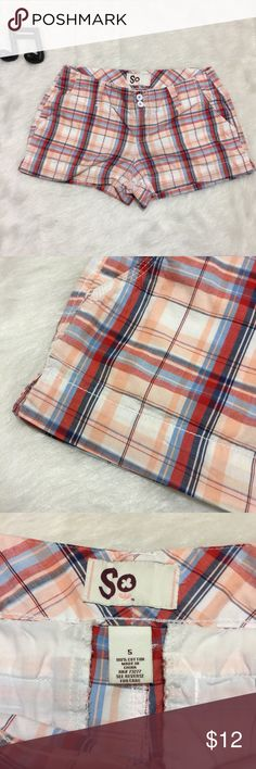 SO Plaid Shorts Cute peach, white, red and blue preppy plaid shorts. Pockets. Zip and button closure. There's an ink mark on the inside of the leg but it doesn't show on the outside. But no flaws on the outside. See measurements in photos for sizing questions.   🔽🔽🔽🔽🔽🔽🔽🔽🔽🔽🔽🔽🔽🔽🔽🔽🔽🔽🔽🔽  • Reasonable offers accepted • Sorry, no modeling & no trades  🔼🔼🔼🔼🔼🔼🔼🔼🔼🔼🔼🔼🔼🔼🔼🔼🔼🔼🔼🔼 SO Shorts