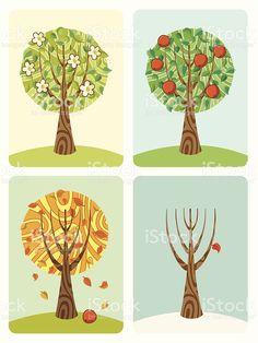 Apple Tree-Four Seasons. illustracion libre de derechos libre de derechos