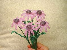 5 Pink Coneflowers .. French Beaded Flowers