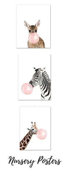Nursery Decor with Nursery Animal posters wall art #posters #nursery #nurserydecor #babyessentials