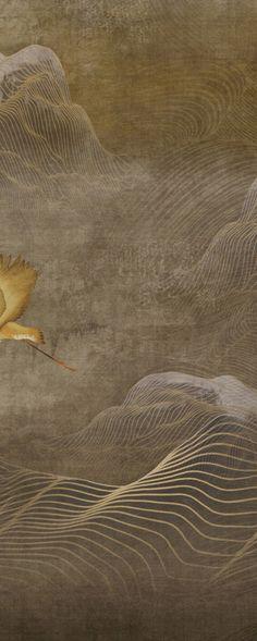 新中式装饰画    水墨山水    中式名画    中式抽象装饰画 Textured Wallpaper, Wall Wallpaper, Orange Rugs, Material Design, Chinese Style, Chinoiserie, Installation Art, Japanese Art, Graphic Design