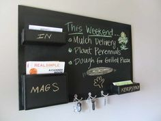Items similar to Mail Organizer Chalkboard wall mount medium size high gloss border key hooks on Etsy Mail Organizer Wall Mount, Media Wall, Key Hooks, Chalkboard Paint, Home Organization, Household Organization, Organizing Ideas, Getting Organized, Home Projects