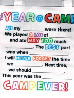 Kids can fill in the blanks on the bag, as a memory of the great time they had at summer camp. Child can take all 12 to camp and share with their friends!! Great Tote to pack underwear or Toothpaste, Toothbrush, Hairbrush Sunscreen in.
